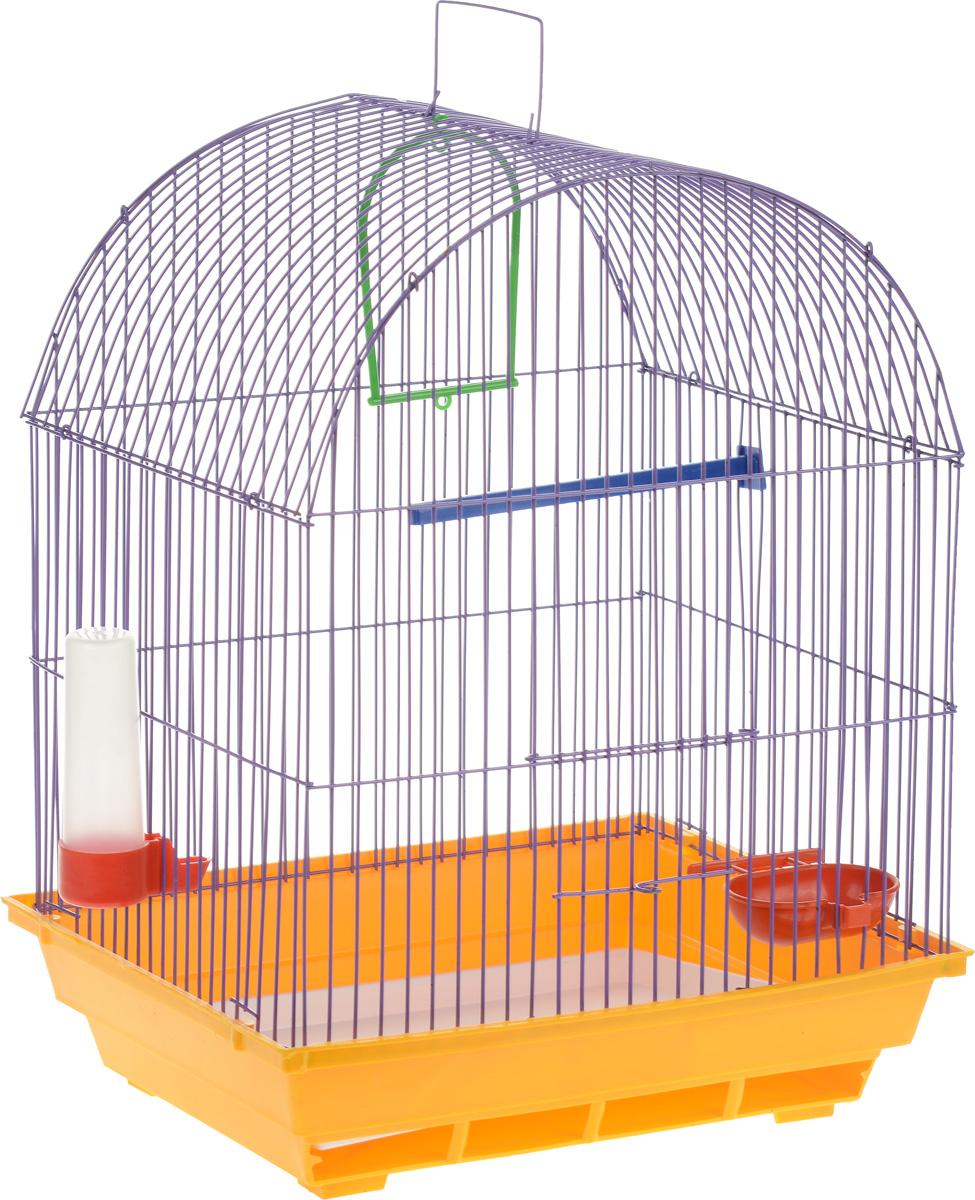 Клетка для птиц ЗооМарк, цвет: желтый поддон, фиолетовая решетка, 35 х 28 х 45 см0120710Клетка ЗооМарк, выполненная из полипропилена и металла, предназначена для мелких птиц. Вы можете поселить в нее одну или две птицы. Изделие состоит из большого поддона и решетки. Клетка снабжена металлической дверцей, которая открывается и закрывается движением вверх-вниз. В основании клетки находится малый поддон. Клетка удобна в использовании и легко чистится. Она оснащена жердочкой, кольцом для птицы, кормушкой, поилкой и подвижной ручкой для удобной переноски. Комплектация: - клетка с поддоном, - малый поддон; - кормушка; - поилка; - кольцо.Размер клетки: 35см х 28см х 45см. Уважаемые клиенты! Обращаем ваше внимание на возможные изменения в цвете некоторых деталей товара. Поставка осуществляется в зависимости от наличия на складе.