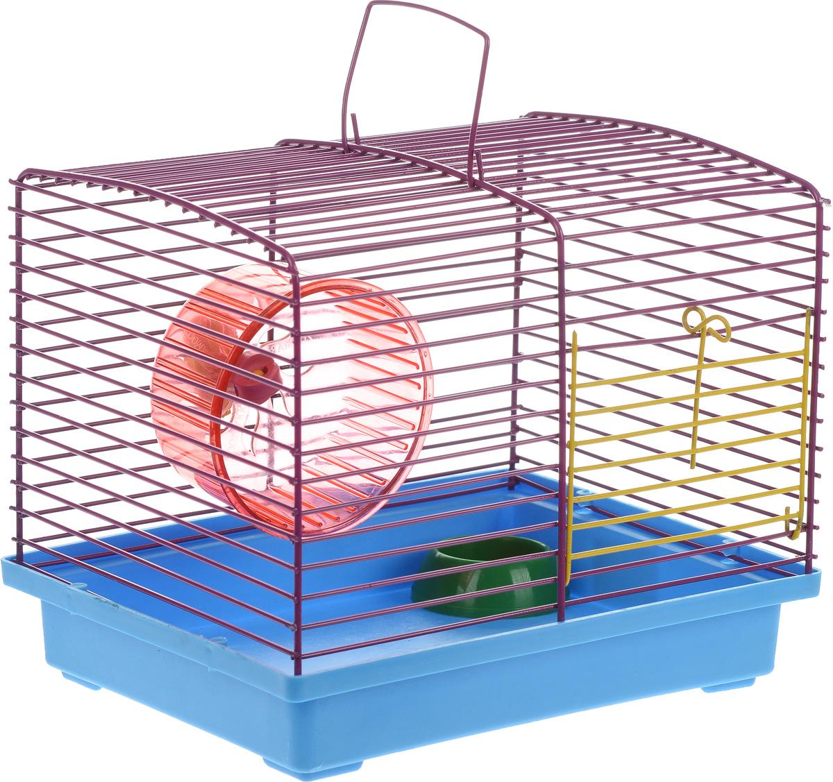 Клетка для хомяка ЗооМарк, с колесом и миской, цвет: голубой поддон, фиолетовая решетка, 23 х 18 х 18,5 см640_синий, зеленыйКлетка ЗооМарк, выполненная из пластика и металла, подходит для джунгарского хомячка или других небольших грызунов. Она оборудована колесом для подвижных игр и миской. Клетка имеет яркий поддон, удобна в использовании и легко чистится. Такая клетка станет личным пространством и уютным домиком для маленького грызуна.Комплектация:- клетка с поддоном;- колесо;- миска.Размер клетки: 23 см х 18 см х 18,5 см.