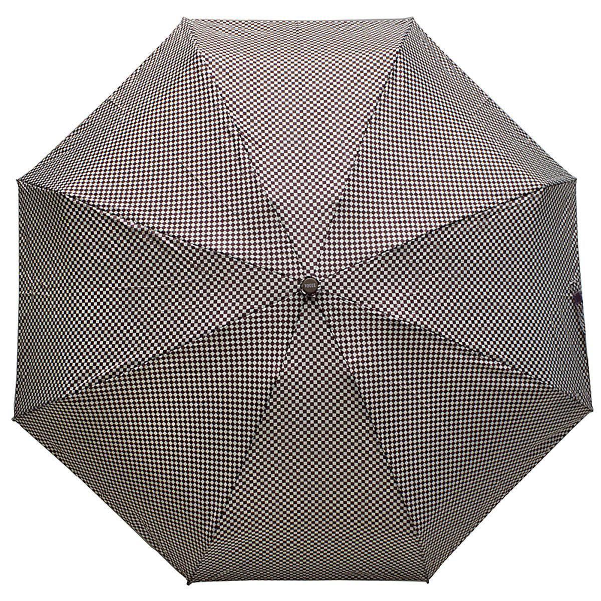 Зонт женский Vogue, цвет: коричневый, белый. 345V-3REM12-CAM-REDBLACKСтильный механический зонт испанского производителя Vogue оснащен каркасом с противоветровым эффектом.Каркас зонта включает 8 спиц. Стержень изготовлен из стали, купол выполнен из прочного полиэстера.Зонт является механическим: купол открывается и закрывается вручную до характерного щелчка. Такой зонт не только надежно защитит вас от дождя, но и станет стильным аксессуаром, который идеально подчеркнет ваш неповторимый образ. Рекомендации по использованию: Мокрый зонт нельзя оставлять сложенным. Зонт после использования рекомендуется сушить в полураскрытом виде вдали от нагревательных приборов. Чистить зонт рекомендуется губкой, используя мягкие нещелочные растворы.