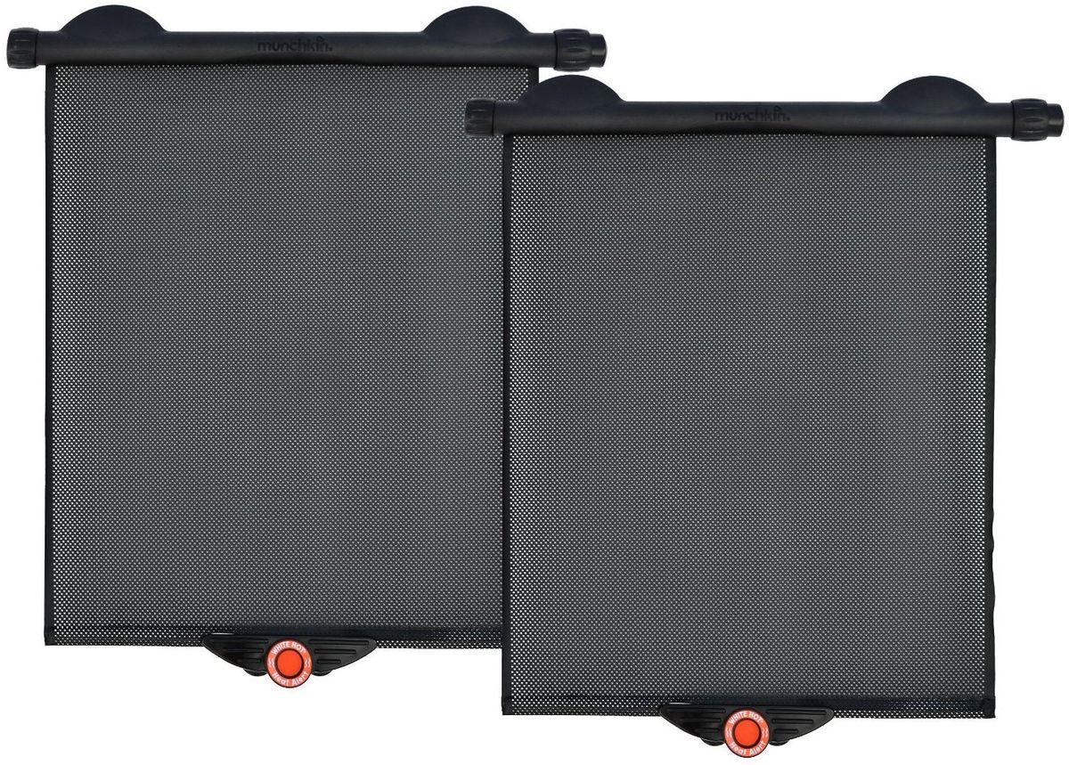 Munchkin Аксессуар для автокресла солнцезащитная штора 2 штFS-80423Солнцезащитные шторки Munchkin предназначена для защиты ребенка от солнца во время поездки в автомобиле. Шторку можно прикрепить к стеклу 2-мя удобными способами: с помощью присосок и специальных клипс для крепления. Одним нажатием кнопки рулонная шторка опускается вниз и фиксируется на стекле, так же просто закатывается наверх. Подходит к стеклу практически любой формы и размера. Шторка оснащена запатентованной технологией - если в машине становится слишком жарко, красный индикатор температуры внизу шторки становится белым, значит пора охладить автомобиль! Сетчатая поверхность шторки Safe-View обеспечивает прекрасный обзор.