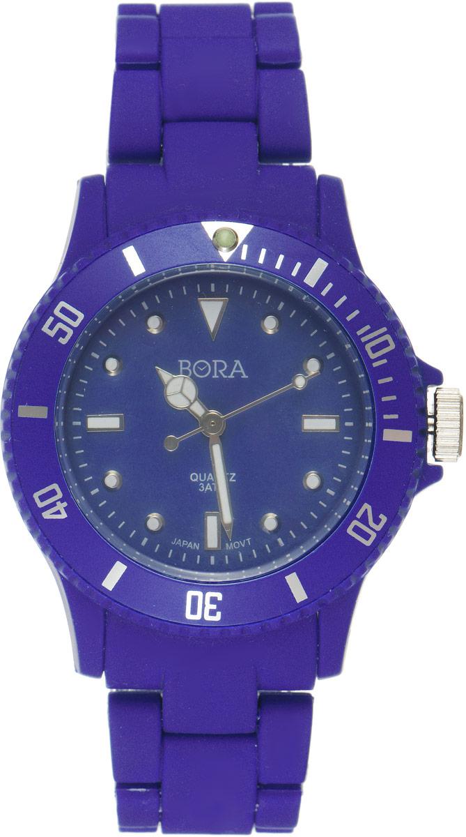 Часы наручные женские Bora, цвет: темно-синий. T-B-6299BM8434-58AEНаручные часы Bora произведены опытными специалистами из материалов самого высокого качества на базе новейших технологий и оснащены электронно-механическим кварцевым механизмом Seiko Instruments (Япония). Корпус часов выполнен из нержавеющей стали и пластика черного цвета. Циферблат круглой формы, оформленный отметками, имеет три стрелки - часовую, минутную и секундную. Стрелки и отметки покрыты люминесцентным раствором, благодаря чему светятся в темноте. Внешний циферблат оформлен цифрами. Браслет выполнен из пластика и застегивается на застежку-бабочку.Часы Bora подчеркнут ваш неповторимый стиль и добавят элегантности в ваш образ.