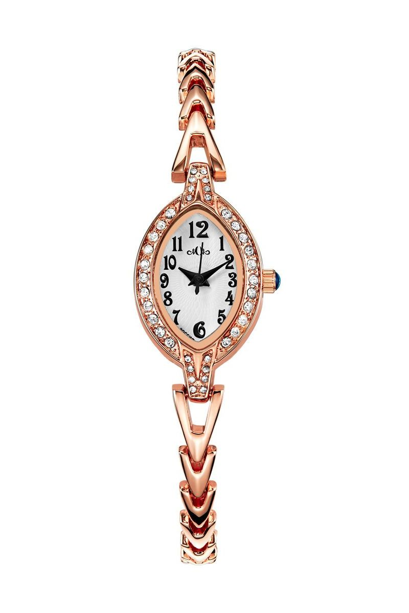 Часы наручные женские Mikhail Moskvin Каприз, цвет: золотой. 520-8-3BM8434-58AEЭлегантные женские часы Mikhail Moskvin Каприз изготовлены с изящными линиями. Тонкий корпус-браслет, шириной 18 мм покрыт по современным технологиям напылением ионами розового золота и инкрустирован сияющими стразами. На белой поверхности циферблата расположены часовые индексы, которые выполнены в виде черных арабских цифр. Композицию дополняют черные заостренные стрелки. Часы оснащены кварцевым механизмом, производства фирмы Seiko Epson (Япония). Срок службы элемента питания 2 года. Минеральное стекло с сапфировым напылением устойчиво к царапинам. Задняя крышка изготовлена из высоколегированной нержавеющей стали.
