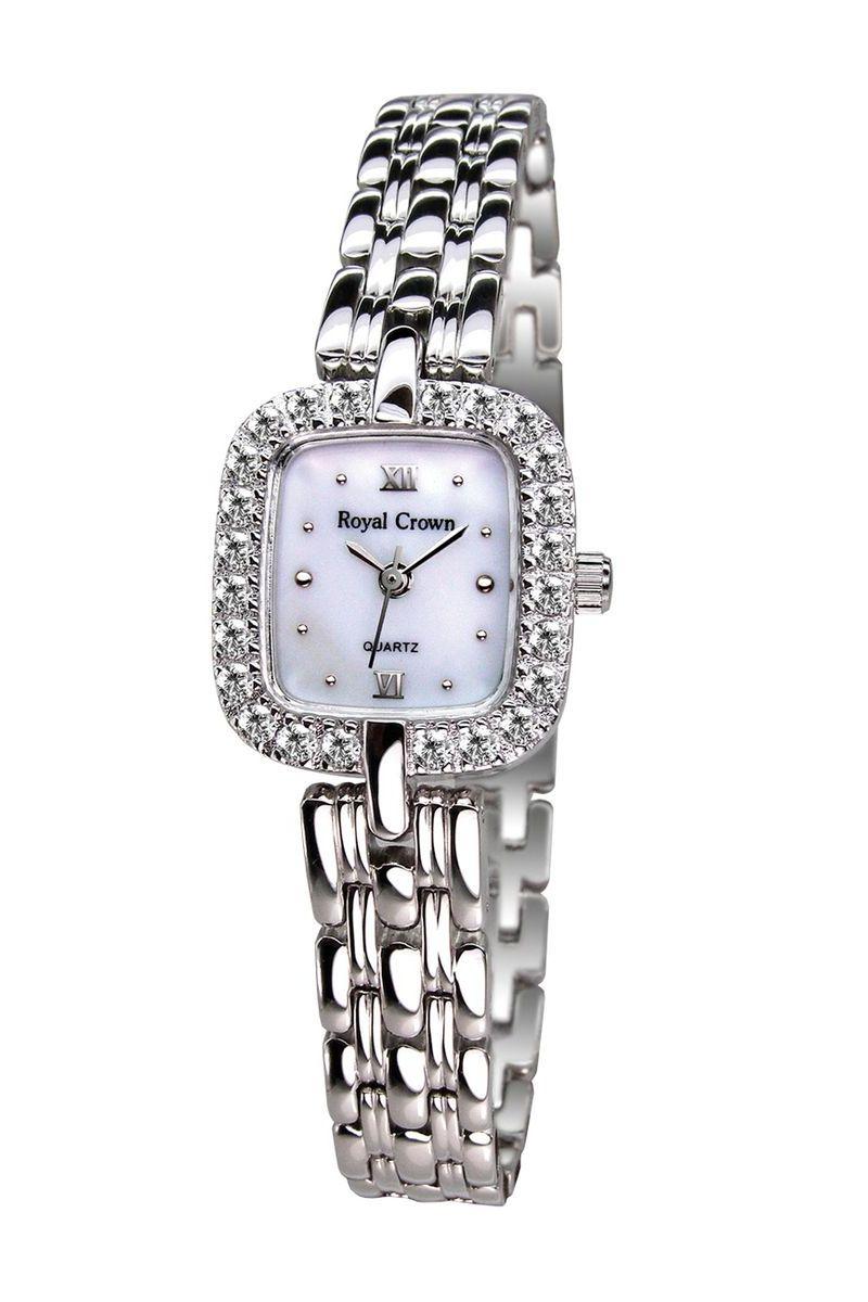 Часы наручные женские Royal Crown, цвет: серебристый. 3603-RDM-6BM8434-58AEНаручные кварцевые часы Royal Crown выполнены из высококачественного металла. Корпус оформлен вставками из страз. Браслет оснащен удобной металлической застежкой, которая надежно зафиксирует изделие на запястье. Часы оснащены минеральным, устойчивым к царапинам, стеклом с сапфировым напылением и задней крышкой из гипоаллергенной нержавеющей стали.