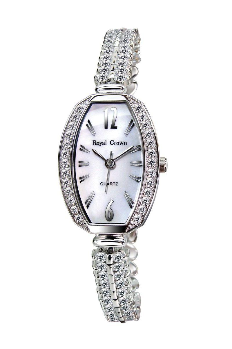 Часы наручные женские Royal Crown, цвет: серебристый. 3811-RDM-5BM8434-58AEНаручные кварцевые часы Royal Crown выполнены из высококачественного металла. Корпус оформлен вставками из страз. Браслет оснащен удобной металлической застежкой, которая надежно зафиксирует изделие на запястье. Часы оснащены минеральным, устойчивым к царапинам, стеклом с сапфировым напылением и задней крышкой из гипоаллергенной нержавеющей стали.