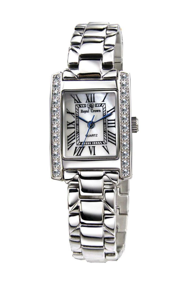 Часы наручные женские Royal Crown, цвет: серебристый. 6306-RDM-6BM8434-58AEНаручные кварцевые часы Royal Crown выполнены из высококачественного металла. Корпус оформлен вставками из страз. Браслет оснащен удобной металлической застежкой, которая надежно зафиксирует изделие на запястье. Часы оснащены минеральным, устойчивым к царапинам, стеклом с сапфировым напылением и задней крышкой из гипоаллергенной нержавеющей стали.