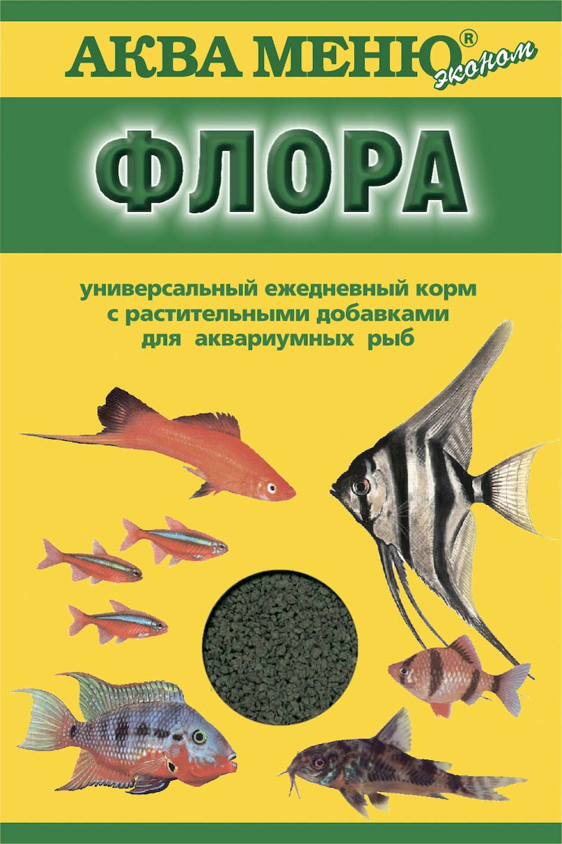 Корм для рыб Аква Меню Флора, с растительными добавками, 30 г корм аква меню униклик 50 для рыб с артемией 6 5 г