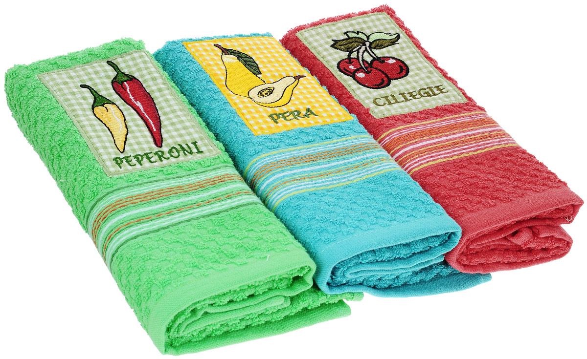 Набор полотенец Bonita Аппликация, цвет: зеленый, красный, голубой, 40 х 60 см, 3 шт04719-СК-ГБ-003Набор из трех полотенец Bonita Аппликация, изготовленных из натурального хлопка (100% хлопка), идеально дополнит интерьер вашей кухни и создаст атмосферу уюта и комфорта. Каждое полотенце оформлено вышивкой.Изделия выполнены из натурального материала, поэтому являются экологически чистыми. Высочайшее качество материала гарантирует безопасность не только взрослых, но и самых маленьких членов семьи. Современный декоративный текстиль для дома должен быть экологически чистым продуктом и отличаться ярким и современным дизайном.