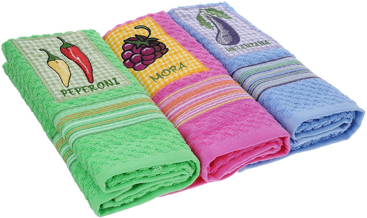 Набор полотенец Bonita Аппликация, цвет: зеленый, розовый, голубой, 40 х 60 см, 3 штVT-1520(SR)Набор из трех полотенец Bonita Аппликация, изготовленных из натурального хлопка (100% хлопка), идеально дополнит интерьер вашей кухни и создаст атмосферу уюта и комфорта. Каждое полотенце оформлено вышивкой.Изделия выполнены из натурального материала, поэтому являются экологически чистыми. Высочайшее качество материала гарантирует безопасность не только взрослых, но и самых маленьких членов семьи. Современный декоративный текстиль для дома должен быть экологически чистым продуктом и отличаться ярким и современным дизайном.