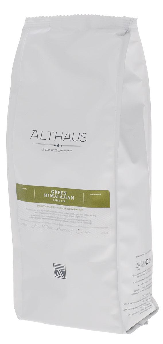 Althaus Green Himalajian зеленый листовой чай, 250 г0120710Althaus Green Himalajian — необыкновенно приятный, ароматный зеленый индийский чай, который собирается в садах Дарджилинга в предгорьях туманных Гималаев. Из-за резких перепадов температур чайные листочки растут здесь особенно медленно, благодаря чему накапливают в себе большое количество полезных веществ. А в процессе обработки данный вид чая в отличие от других сортов не скручивается. Этими двумя особенностями и объясняется характерное своеобразие Грин Гималайан — его легкость, необыкновенно ясный простой вкус и изысканно-тонкий букет.Первый глоток раскрывает перед вами яркую и насыщенную зеленую ноту, ее дополняет очень теплый, слегка сладковатый весенний аромат, который напоминает запах свежескошенной травы и горного леса. Золотистый настой обладает полным цветочным вкусом, легкой терпкостью и ощутимой освежающей кислинкой в послевкусии.Оптимальная температура заваривания: 80°С. Температура воды: 80-90 °СВремя заваривания: 2-3 мин Цвет в чашке: светло-зеленый