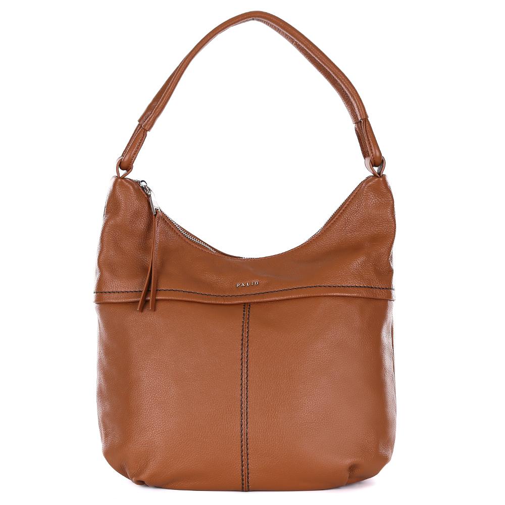 Сумка женская Palio, цвет: коричневый. 14547A1-55810130-11Cумка-мешок от итальянского бренда Palio выполнена из натуральной кожи, которая имеет мягкую и приятную фактуру. Если вы ценитель стильных аксессуаров, которые можно носить каждый день, эта модель создана специально для вас. Модный коричневый цвет, изящная тонкая строчка, интересное крепление ручек придаст любому образу нотки элегантности и женственности. Фурнитура выполненная в золотом цвете, длинные кожаные брелки завершают дизайн сумки, делая его ультрасовременным и очень удобным. Аксессуар имеет одно вместительное отделение, которое внутри разделено на два глубоких отсека. Внутри модели вы с легкостью расположите свой сотовый телефон и другие женские мелочи за счет удобных карманов. Изделие вмещает формат A4. На тыльной стороне дизайнеры разместили вместительный карман, который закрывается на стильную молнию с кожаным поводком.