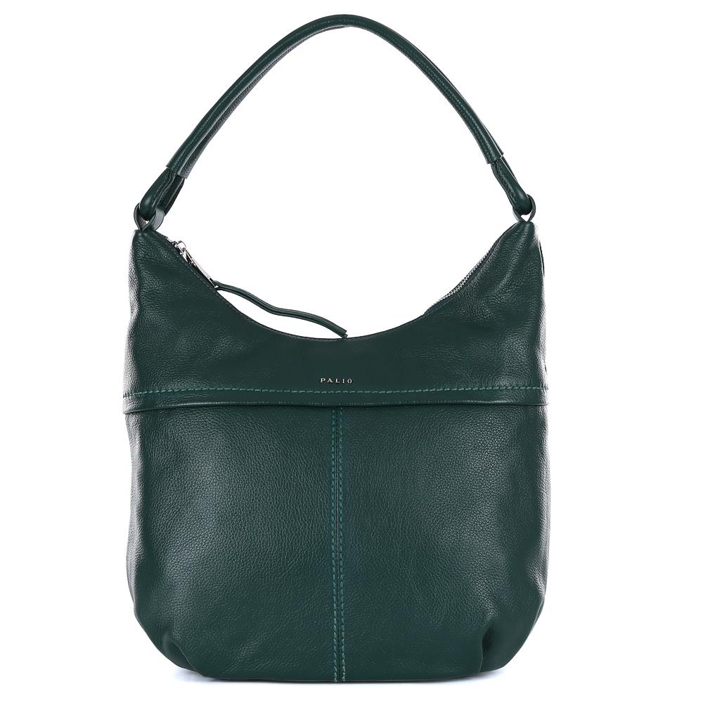 Сумка женская Palio, цвет: изумрудный. 14547A1-686ML597BUL/DCумка-мешок от итальянского бренда Palio выполнена из натуральной кожи, которая имеет мягкую и приятную фактуру. Если вы ценитель стильных аксессуаров, которые можно носить каждый день, эта модель создана специально для вас. Яркий и насыщенный зеленый цвет, изящная тонкая строчка в тон изделия, интересное крепление ручек придаст любому образу нотки элегантности и женственности. Фурнитура, выполненная в золотом цвете, длинные кожаные брелки завершают дизайн сумки, делая его ультрасовременным и очень удобным. Аксессуар имеет одно вместительное отделение, которое внутри разделено на два глубоких отсека. Внутри модели вы с легкостью расположите свой сотовый телефон и другие женские мелочи за счет удобных карманов. Изделие вмещает формат A4. На тыльной стороне дизайнеры разместили вместительный карман, который закрывается на стильную молнию с кожаным поводком.