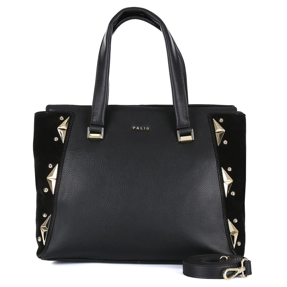 Сумка женская Palio, цвет: черный. 14718A1-W1-018/018S76245Элегантная женская сумка от итальянского бренда Palio выполнена из натуральной плотной кожи, которая держит форму и имеет мягкую фактуру. Классический черный цвет и вставки из замши с изысканной золотой фурнитурой превращают модель в стильный аксессуар, который подойдет под любой современный образ. Сумка имеет одно внутреннее отделение, которое разделяется карманом на два глубоких отсека. Дизайнеры позаботились и об удобстве аксессуара: на внутренних боковых стенках они разместили карманы для различных женских мелочей. На тыльной части сумки расположено отделение, которое закрывается на молнию со стильным металлическим поводком. Аксессуар вмещает папки и документы формата A4.