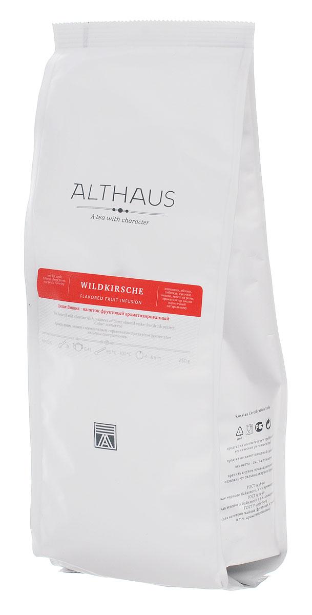 Althaus Wildkirsche фруктовый листовой чай, 250 г101246Althaus Wildkirsche — интересный фруктовый купаж с прекрасным ароматом диких вишен в сочетании с легкой и изящной миндальной горчинкой.Совершенный вкус этого напитка формируют кусочки сочной вишни и медового яблока в композиции с плодами шиповника, лепестками розы и гибискуса.В этом напитке доминирует яркий, выразительный вишневый аромат. В букете угадывается благородная сладость сочных ягод, густой душистый запах цветочных бутонов, пряная нота корицы и миндаля. Завершает звучание напитка обволакивающий аромат восточных благовоний. Чай обладает терпковатой изысканной сладостью во вкусе и летним ароматом. В его послевкусии ощущается сладость засахаренного цветочного меда и спелого винограда. Ягоды вишни — это не только вкусный десерт и основа для освежающего ягодного коктейля, это еще источник витаминов и полезных микроэлементов. Температура воды: 85-100 °СВремя заваривания: 4-6 мин Цвет в чашке: алый