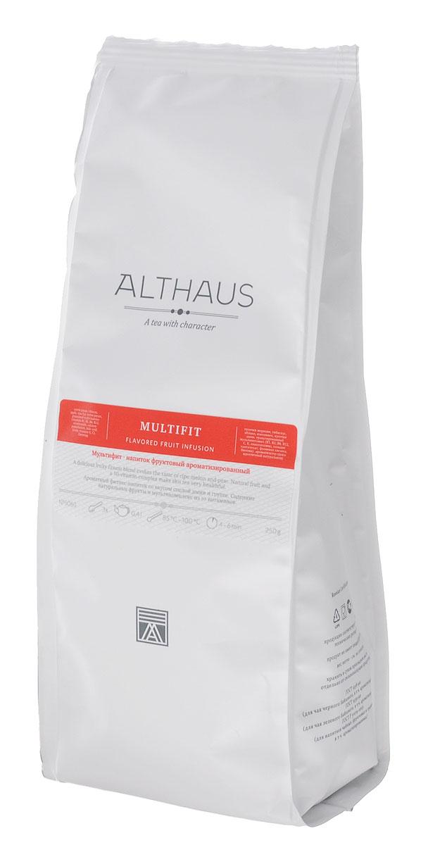 Althaus Multifit фруктовый листовой чай, 250 г4792219601586Althaus Multifit — тонизирующий фруктовый напиток, обогащенный витаминами. В состав этого уникального купажа входит гранулированный комплекс из 10 витаминов, рекомендованных Немецким обществом питания для ежедневного употребления взрослыми: B1, B2, B6, B12, E, C, никотинамид, пантотенат кальция, фолиевая кислота, биотин. При процентном содержании витаминов 7.5% порция чая Multifit (5 г) обеспечивает половину суточной нормы 10 витаминов.Купаж дает настой нежно-рубинового цвета. Традиционная основа фруктовых блендов — гибискус, яблоко, шиповник — здесь дополнен таким необычным и полезным компонентом как морковь. Вкус чая полный, богатый, с хорошим балансом кислинки и сладких нот — засахаренных долек сочной дыни и спелой садовой груши, аромат напоминает запах свежего фруктового конфитюра. Напиток создан для современных людей, ведущих активный образ жизни и заботящихся о своем здоровье. Температура воды: 85-100°СВремя заваривания: 4-6 мин Цвет в чашке: нежно-рубиновый