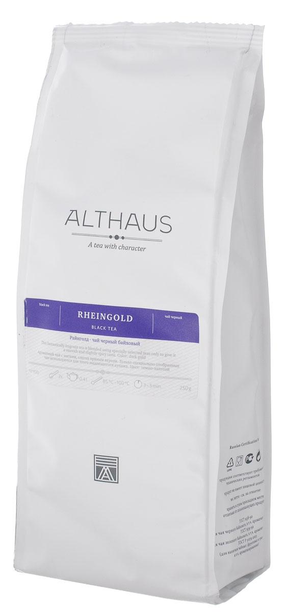 Althaus Rheingold черный листовой чай, 250 г0120710Althaus Rheingold — необыкновенно ароматный черный чай из Индонезии. Для этого выдающегося купажа используются только специально отобранные чаи с острова Ява. По своим отличительным особенностям — изысканности, полноте букета и освежающему эффекту — Райнголд напоминает лучшие сорта цейлонского чая.Однако некоторые гурманы находят букет чая, собранного на Яве в самый благоприятный сезон с августа по сентябрь, даже более интересным и выразительным, чем у сортов с острова Шри-Ланка. В нем лучше различимы фруктовые оттенки, меньше проявляется вяжущая терпкость, раскрывается нежный солодовый аромат.Красивый темно-золотистый настой Райнголд обладает ярким сладко-фруктовым ароматом с приятной печеной нотой и мягким, слегка терпким вкусом с гармоничным сладковатым послевкусием. Тонкая танинная горчинка завершает благородную композицию этого чая.Оптимальная температура заваривания: 95°С. Температура воды: 85-100 °СВремя заваривания: 3-5 мин Цвет в чашке: темно-золотой