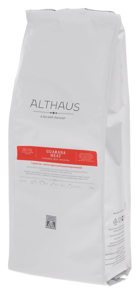Althaus Guarana Heat фруктовый листовой чай, 250 г0120710Althaus Guarana Heat — натуральный энергетический фруктовый коктейль, снимающий усталость и придающий силы.Гуарана — это древесное вьющееся растение с берегов Амазонки. Индейцы Южной Америки недаром называли гуарану эликсиром молодости, ее семена содержат множество полезных веществ и поддерживают работу сердца. Сладкий апельсин, лепестки розы и свежее яблоко образуют тонкий нежный вкус напитка. В ярком выразительном букете раскрываются волнующие цитрусовые оттенки и сочная арбузная нота, которая рождается из сочетания ароматов свежего зеленого киви и сладкой земляники. Во вкусе присутствует приятная терпкость и легкая горчинка.Бодрящий напиток Althaus Guarana Heat — прекрасный выбор для утреннего чаепития. Этот напиток употребляют не только в горячем, но и в холодном виде со льдом. Температура воды: 85-100 °СВремя заваривания: 4-6 мин Цвет в чашке: красно-золотой