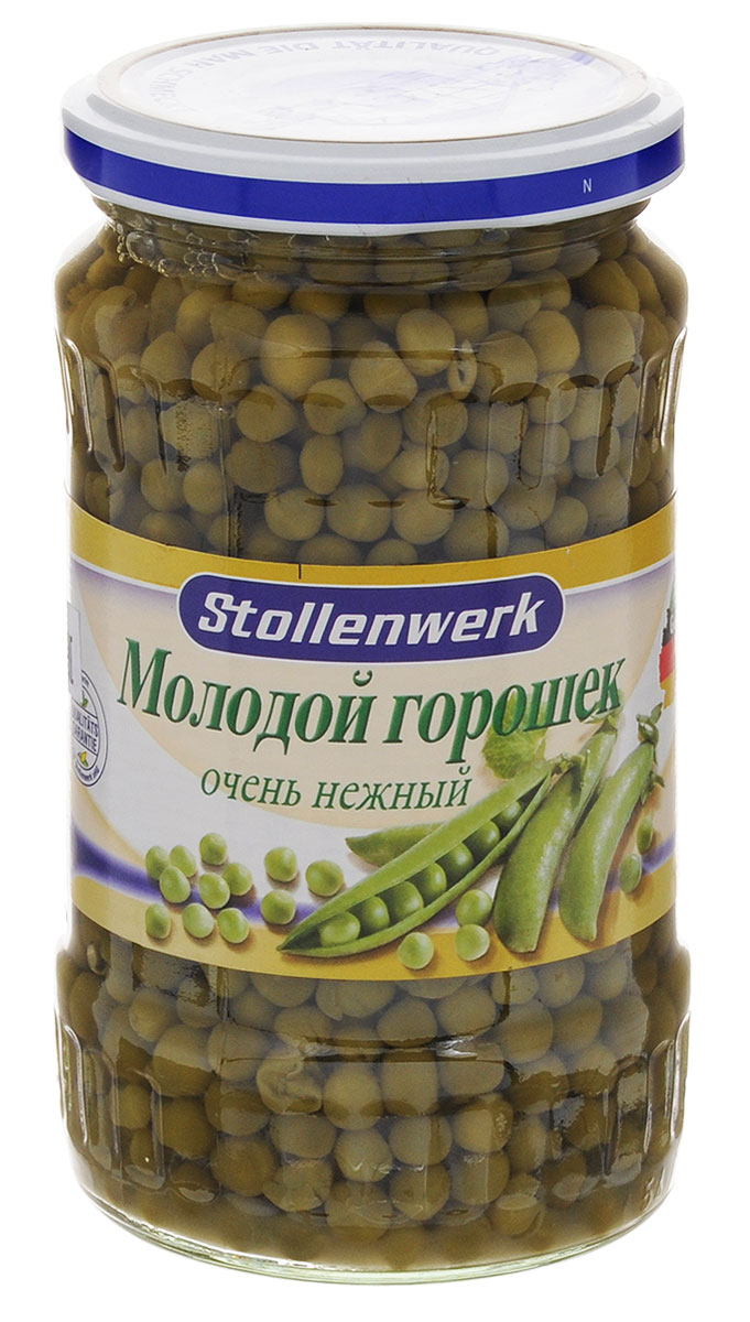 Stollenwerk горошек молодой деликатесный, 370 мл732Горошек Stollenwerk - собирается молодым, не перезревшим, мелкий и нежный на вкус.Польза горошка зеленого консервированного заключается в наличии большого количества белка, хорошо сбалансированного по составу, и углеводов, которые легко усваиваются организмом человека. В этом продукте содержится много калия, железа, фосфора, а также витаминов. Присутствующая в овоще клетчатка способствует понижению в крови уровня вредного холестерина, выведению из организма токсинов.