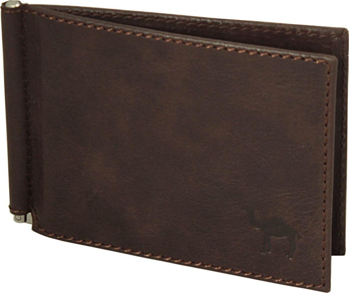 Зажим для денег мужской Dimanche Camel, цвет: коричневый. 639/К490300нСтильный мужской зажим для денег Dimanche Camel выполнен из натуральной кожи на подкладке из полиэстера. Он снабжен в открытом положении фиксирующейся металлической скобой для денег, внутри также шесть карманов для кредиток.