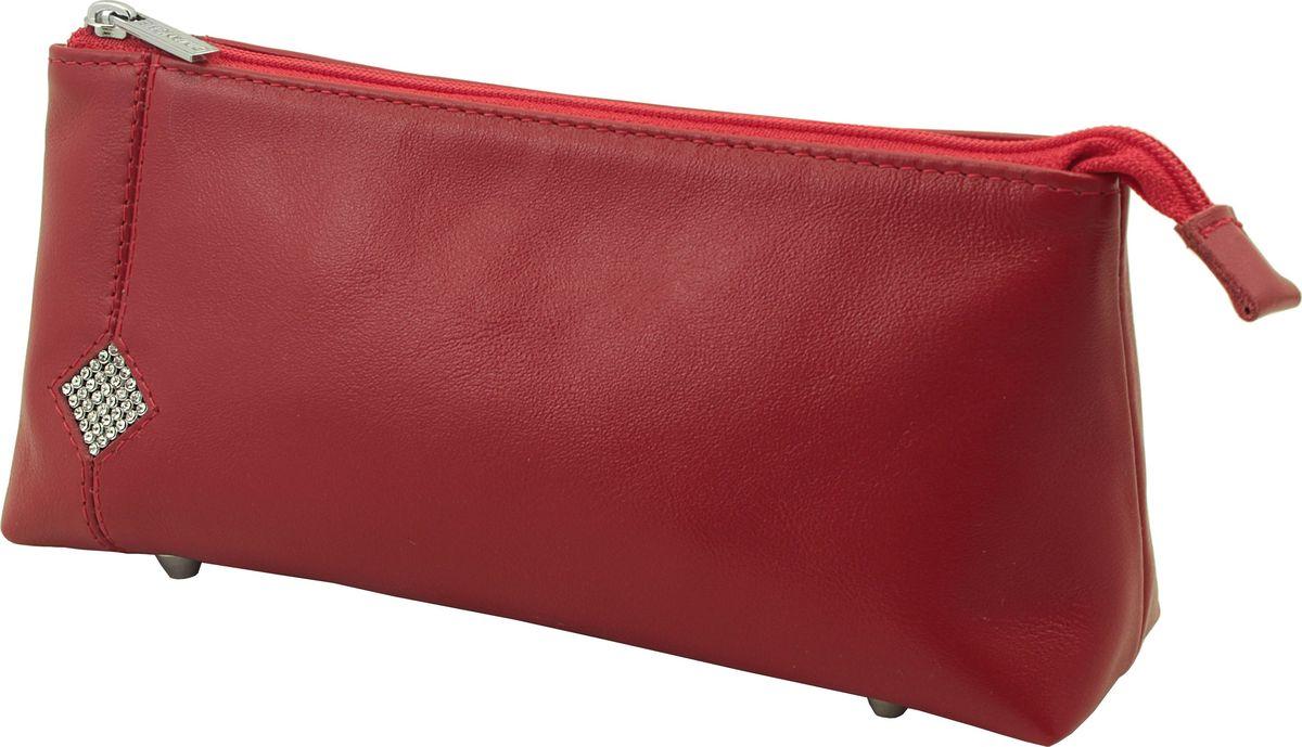 Косметичка Dimanche Рубин, цвет: красный. 011INT-06501Косметичка Dimanche выполнена из натуральной кожи и оформлена вставкой со стразами. Косметичка оснащено металлическими ножками, которые предотвратят повреждение дна. Изделие закрывается с помощью застежки-молнии. Внутри расположено одно вместительное отделение.