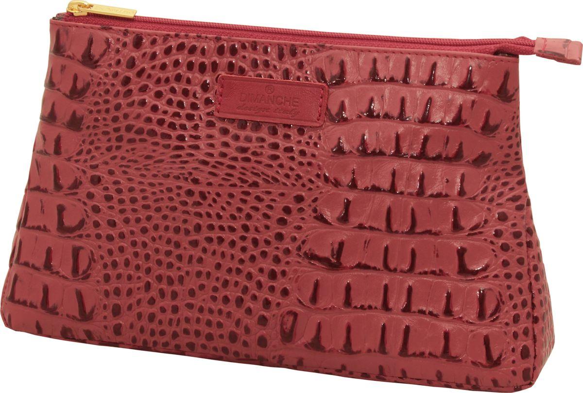 Косметичка Dimanche Loricata Rouge, цвет: темно-красный. 099INT-06501Косметичка Dimanche выполнена из натуральной кожи с тиснением под рептилию и оформлена фирменной нашивкой с названием бренда. Изделие закрывается с помощью застежки-молнии. Внутри расположено одно вместительное отделение.