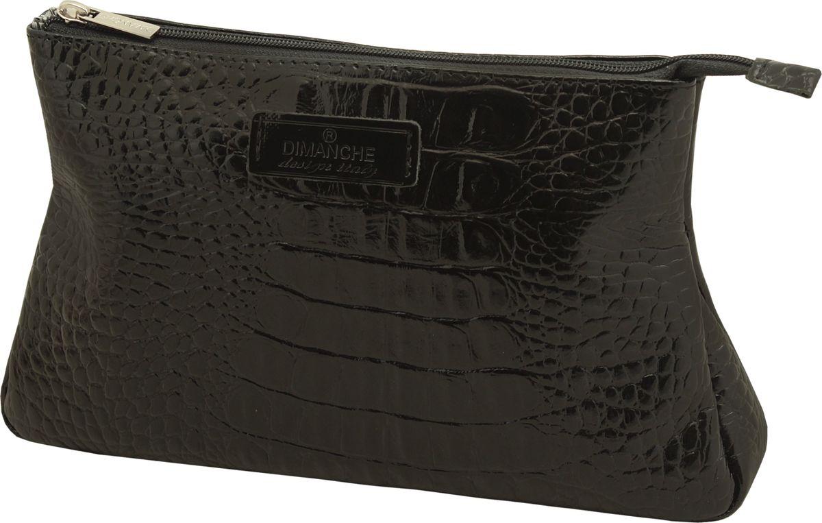 Косметичка Dimanche Loricata, цвет: черный. 097INT-06501Косметичка Dimanche изготовлена из высококачественной натуральной кожи с декоративным тиснением под рептилию и оформлена фирменной нашивкой с названием бренда. Изделие закрывается с помощью застежки-молнии. Внутри расположено главное отделение с поверхностью из шелковистого текстиля.