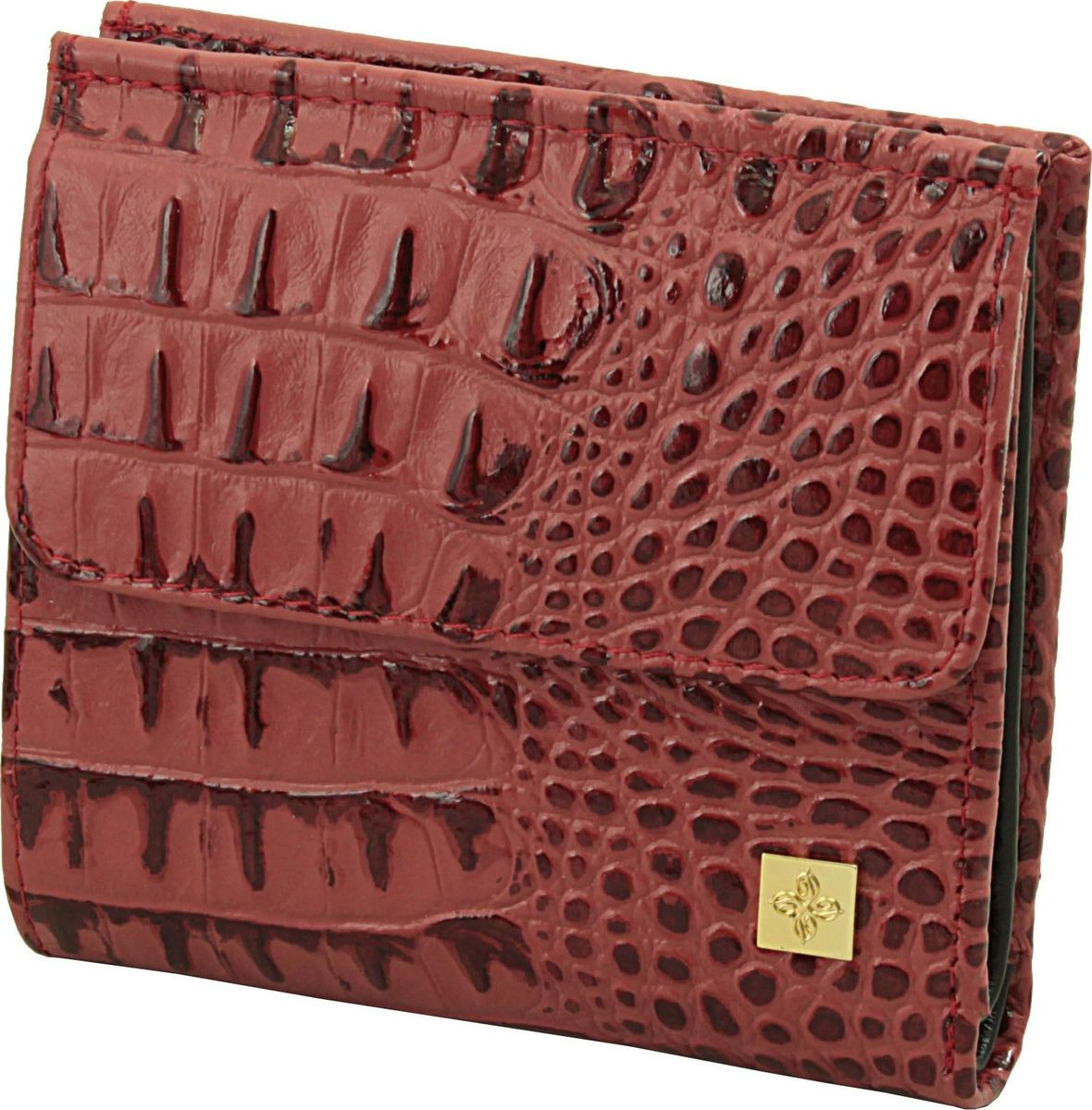 Кошелек женский Dimanche Loriсata Rouge, цвет: коричнево-красный. 544/81-022_516Кошелек Dimanche выполнен из натуральной кожи и оформлен тиснением под рептилию. На лицевой стороне расположен объемный карман для мелочи, который закрывается клапаном с кнопкой. Внутри расположено два открытых кармана для купюр, карман для купюр на молнии, два кармана для кредиток, карман для sim-карты, карман с пластиковым окошком для документов и два вертикальных кармана. Изделие закрывается на кнопку.