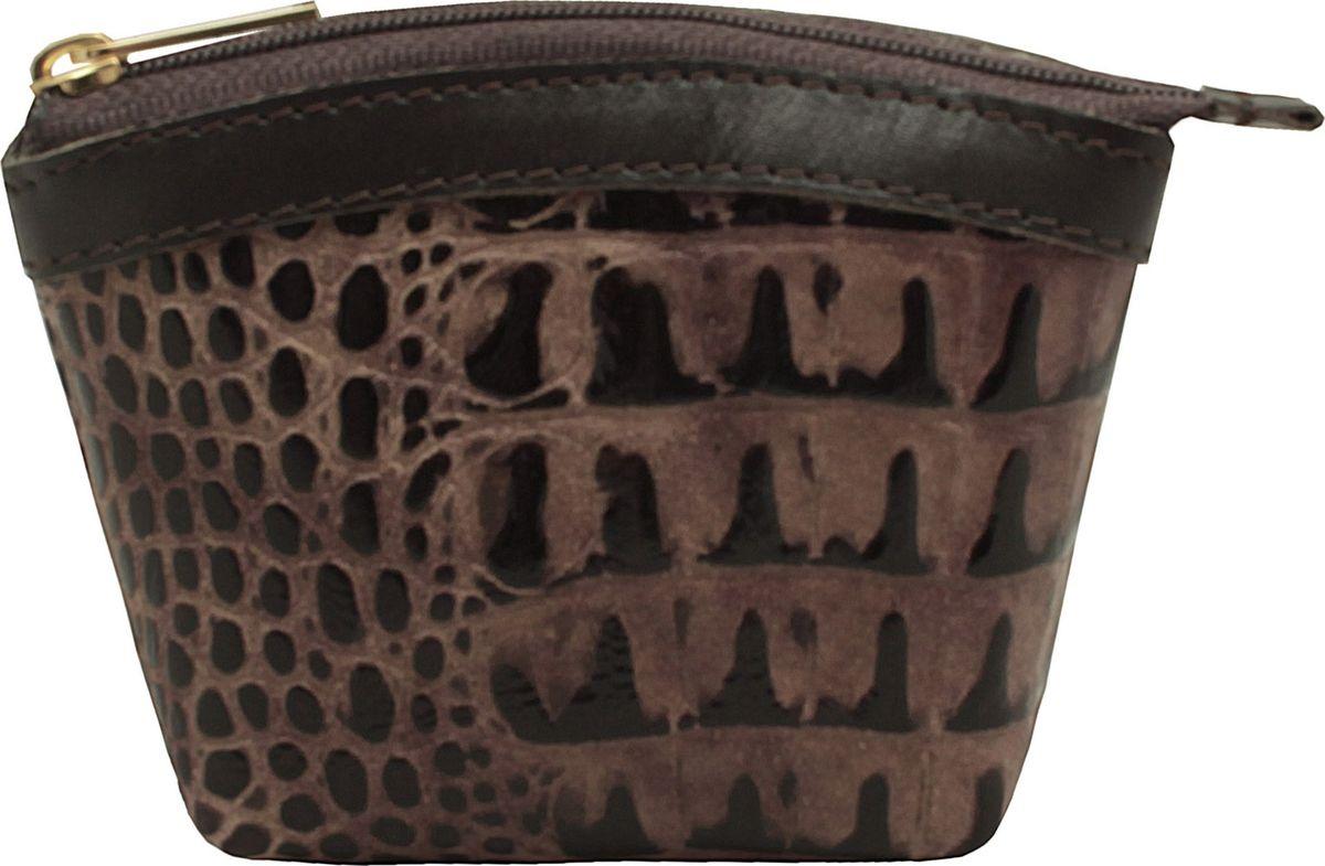 Кошелек-монетница женский Dimanche Loricata Brun, цвет: темно-коричневый. 258/4611379793-GRNКошелек-монетница Dimanche выполнен из натуральной кожи и оформлен декоративным тиснением под рептилию. Изделие закрывается с помощью застежки-молнии. Внутри расположено главное отделение с поверхностью из шелковистого текстиля.