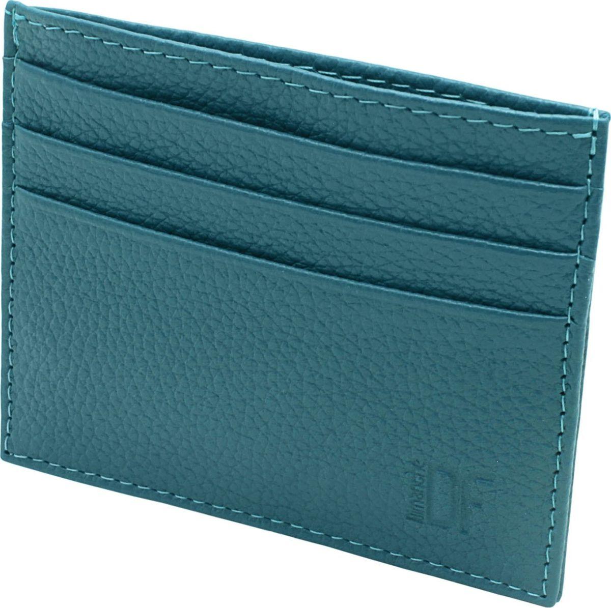 Визитница женская Dimanche, цвет: бирюзовый. 256/28INT-06501Миниатюрная визитница Dimanche для хранения визитных или кредитных кар изготовлена из натуральной кожи. С каждой стороны имеется по 3 кармашка и посередине потайной карман.