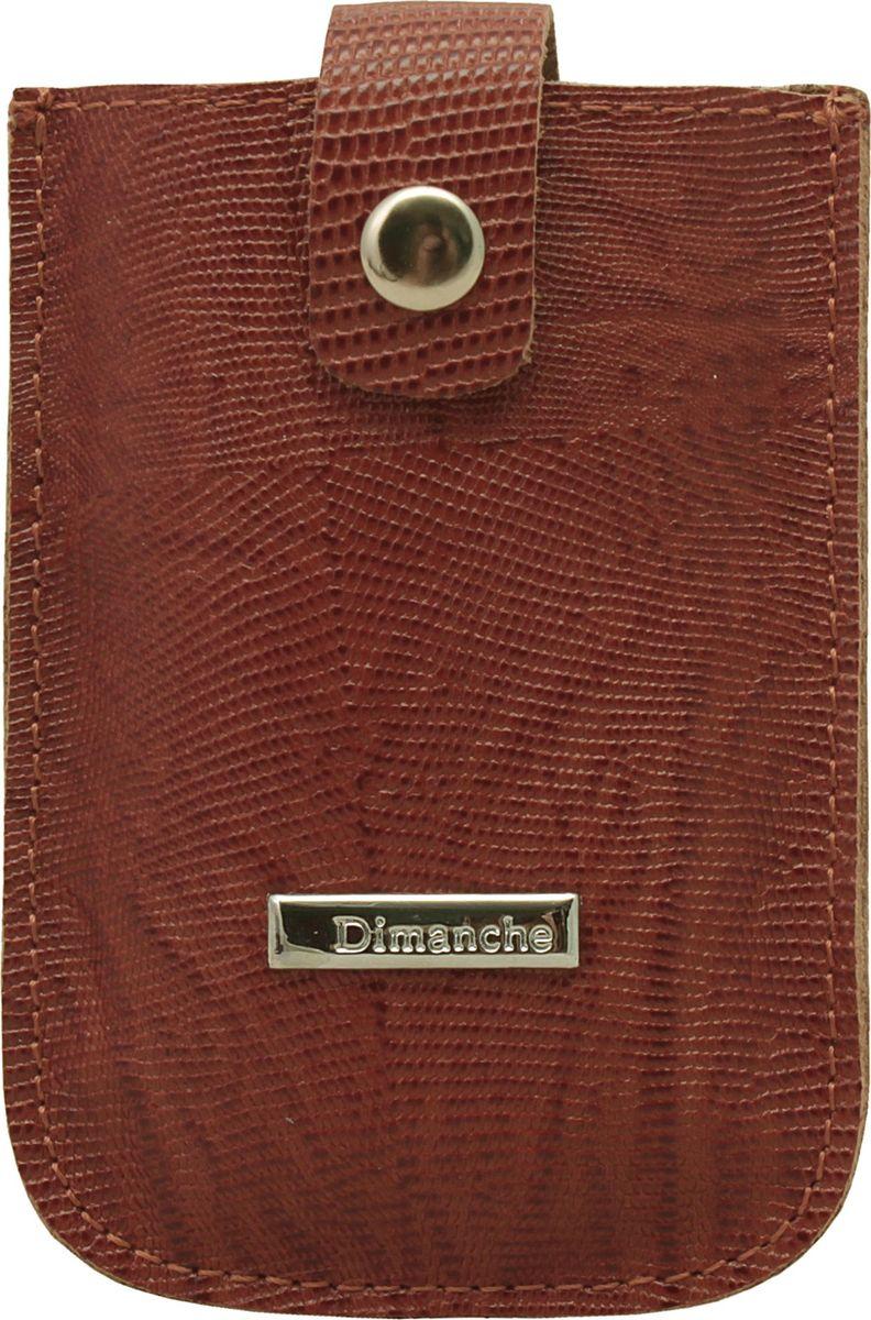 Визитница женская Dimanche, цвет: коричневый. 283/09G39-3 BEIGEВизитница Dimanche, выполненная из натуральной кожи, оформлена тиснением под рептилию и металлической пластинкой с названием бренда. Изделие закрывается хлястиком на кнопку.