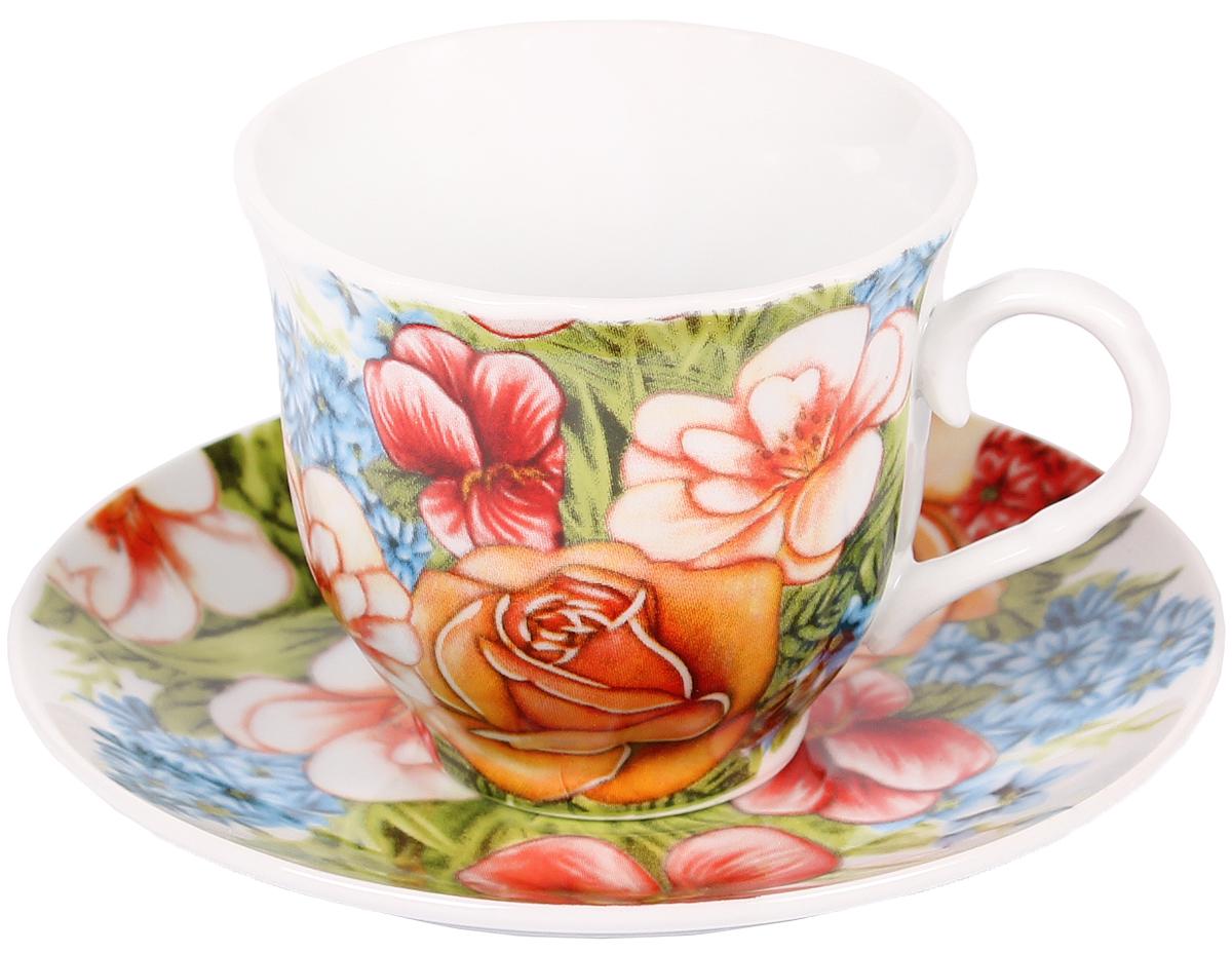 Чайная пара Bella, 2 предмета. DL-F1GB-022VT-1520(SR)Чайная пара Bella состоит из чашки и блюдца, изготовленных из высококачественного фарфора. Оригинальный яркий дизайн, несомненно, придется вам по вкусу.Чайная пара Bella украсит ваш кухонный стол, а также станет замечательным подарком к любому празднику.Объем чашки: 220 мл.