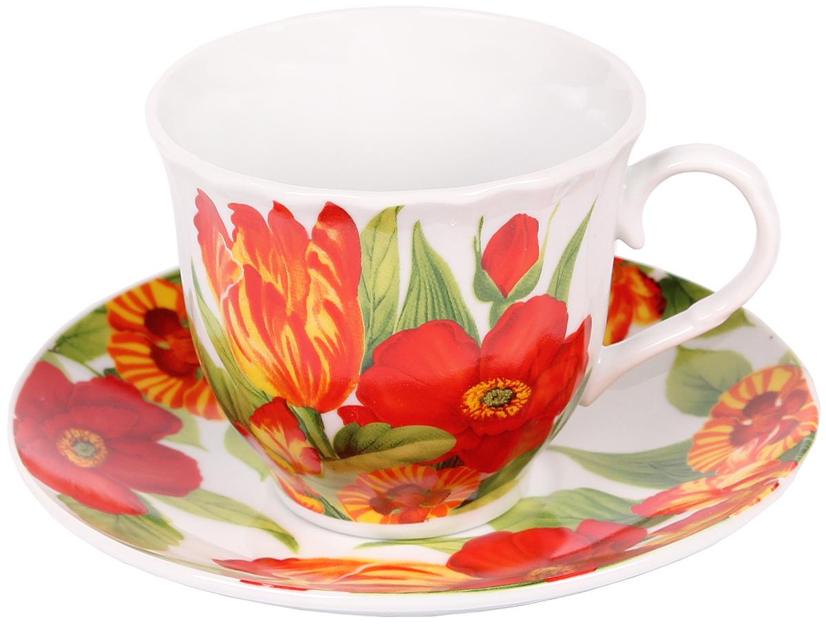 Чайная пара Bella, 2 предмета. DL-F1GB-03754 009312Чайная пара Bella состоит из чашки и блюдца, изготовленных из высококачественного фарфора. Оригинальный яркий дизайн, несомненно, придется вам по вкусу.Чайная пара Bella украсит ваш кухонный стол, а также станет замечательным подарком к любому празднику.Объем чашки: 220 мл.