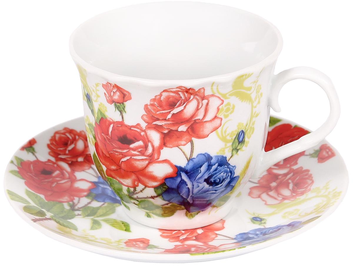 Чайная пара Bella, 2 предмета. DL-F1GB-17354 009312Чайная пара Bella состоит из чашки и блюдца, изготовленных из высококачественного фарфора. Оригинальный яркий дизайн, несомненно, придется вам по вкусу.Чайная пара Bella украсит ваш кухонный стол, а также станет замечательным подарком к любому празднику.Объем чашки: 220 мл.