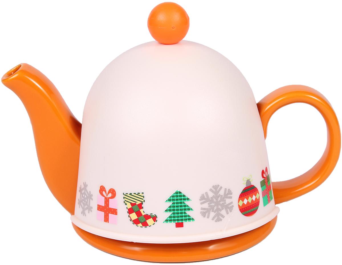 Чайник заварочный Bella, с термоколпаком, с фильтром, 450 мл54 009312Заварочный чайник Bella, выполненный из высококачественной керамики, позволит вам заварить свежий, ароматный чай. Чайник оснащен сетчатым металлическим фильтром. Он задерживает чаинки и предотвращает их попадание в чашку. Сверху на чайник одевается термоколпак из пластика. Внутренняя поверхность термоколпака отделанатеплосберегающей тканью. Он поможет дольше удерживать тепло, а значит, вода в чайнике дольше будет оставаться горячей и пригодной для заваривания чая. Заварочный чайник Bella эффектно украсит стол к чаепитию, а также послужит хорошим подарком для ваших друзей и близких.