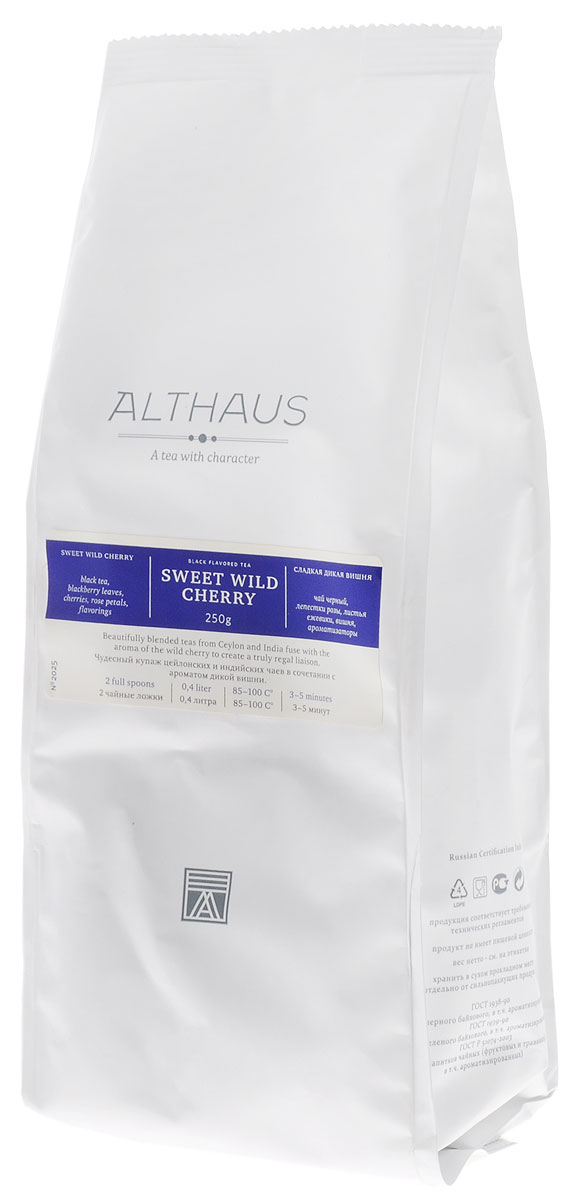 где купить  Althaus Sweet Wild Cherry черный листовой чай, 250 г  по лучшей цене