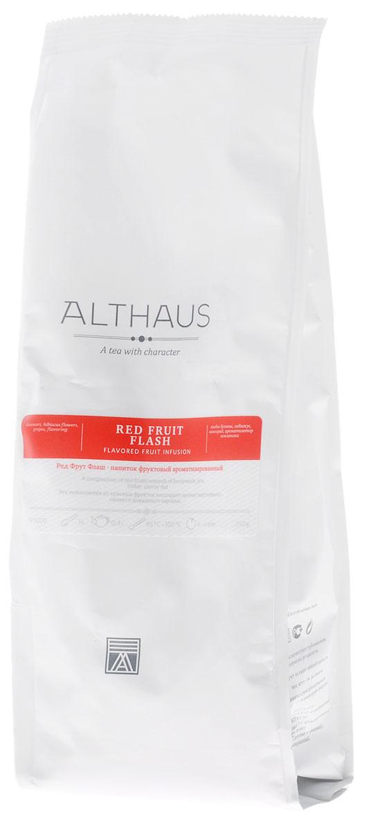 Althaus Red Fruit Flash фруктовый листовой чай, 250 г10706Ред Фрут Флаш — замечательная композиция из садовых и лесных ягод и гибискуса с ароматом свежего домашнего варенья. В состав Ред Фрут Флаш входят черника, черная смородина, голубика, бузина и темно-рубиновые лепестки каркаде. Этот уникальный фруктовый купаж обладает ярким цветочно-ягодным ароматом с едва уловимым медовым оттенком. При заваривании конфетная сладость раскрывается в богатый букет со множеством выразительных нюансов. В нем угадывается теплая сладость пенки от ягодного варенья и глубокие тона черных лесных ягод. Вкус Ред Фрут Флаш полный, насыщенный, прекрасно сбалансированный, с приятной гранатовой кислинкой. В букете этого напитка доминируют фруктово-ягодные ноты с оттенком спелых вяленых абрикосов и изюма. Ред Фрут Флаш можно пить не только в горячем, но и в холодном виде со льдом. Температура воды: 85-100 °СВремя заваривания: 4-6 минЦвет в чашке: насыщенный темно-вишневый
