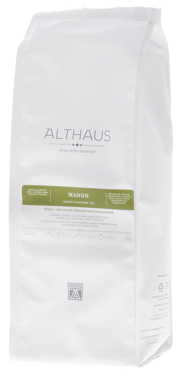 Althaus Manon зеленый листовой чай, 250 г4791029011554Althaus Манон — уникальное сочетание классического японского чая Сенча, многогранных фруктовых ароматов и изящных цветочных лепестков.В состав купажа Манон входит и Гийокуро — один из самых элитных японских сортов высшего качества. Красочные лепестки василька, розы и подсолнечника создают незабываемый насыщенный букет этого чая, смягчая травянистую терпкость молодых зеленых листочков. Манон обладает глубоким фруктовым вкусом и свежим ароматом со сладкими нотами и легкой кислинкой.В этом чае неразрешимая загадка и бесконечное очарование, каждый раз как вы завариваете его, он открывает перед вами новые стороны своего характера.Благодаря сложной композиции освежающих и теплых оттенков чай Манон подходит для любого времени дня: утром он послужит превосходным бодрящим напитком, а вечером позволит расслабиться и отдохнуть.Оптимальная температура заваривания Манон 85°С. Температура воды: 75-85 °СВремя заваривания: 2-3 минЦвет в чашке: насыщенный зеленый