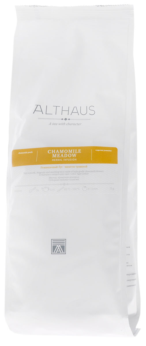 Althaus Chamomile Meadow травяной листовой чай, 75 гTALTHG-L00065Althaus Ромашковый Луг – это сбор мягких ароматных соцветий ромашки высшего качества. Благодаря своему тонкому вкусу напиток превосходно утоляет жажду.При заваривании полупрозрачные цветочные лепестки раскрываются в настое, придавая ему выразительный сладковато-травянистый аромат с легкой терпкостью, напоминающий запах ранних яблок. Вкус напитка свежий, пряный, с доминирующими цветочными тонами, едва заметной кислинкой и минеральным оттенком.Ромашка служит универсальным лекарственным средством с давних времен. О целебных свойствах этого цветка знали еще в Древнем Египте. Особой популярностью растение пользовалось в Европе. В Англии ромашковый чай является традиционным домашним средством от всех болезней. Напиток из ромашки богат витамином C, но при этом не содержит кофеина, он оказывает антистрессовое и общеукрепляющее воздействие. Althaus Ромашковый Луг с типичным терпким цветочным привкусом и мягким ароматом прекрасно подойдет для вечернего чаепития. Благодаря содержанию эфирных масел этот напиток обладает успокаивающим эффектом и помогает заснуть. Температура воды: 85-100 °СВремя заваривания: 4-5 минЦвет в чашке: светло-желтый