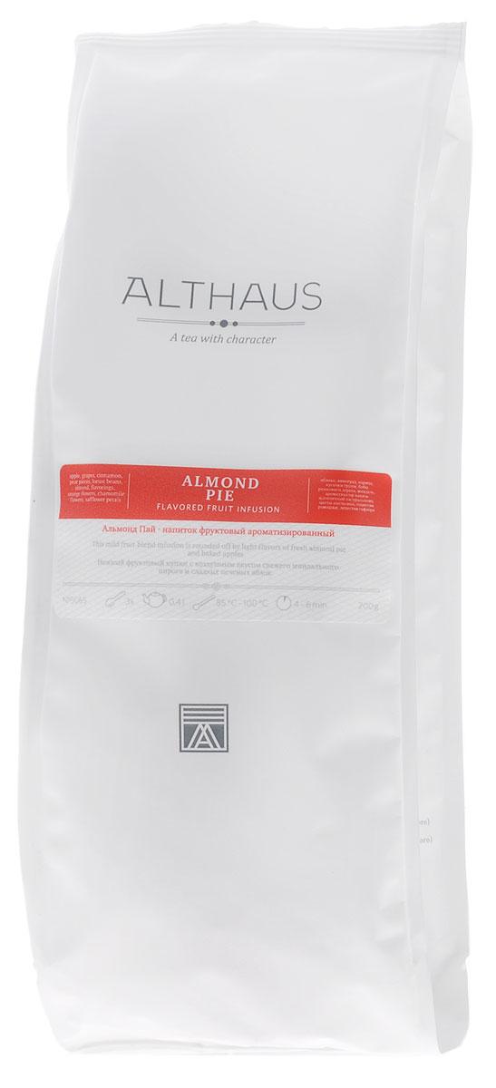 Althaus Almond Pie фруктовый листовой чай, 200 гTALTHL-L00074Альмонд Пай — исключительно воздушный и по-домашнему уютный фруктовый купаж с ароматом пряной ванили и пикантного миндаля. Этот чай отличается от традиционных фруктовых напитков на основе гибискуса: кислинка каркаде в нем заменена сладостью сушеных яблок, изюма и кусочков груши. В букете Альмонд Пай яркий ванильный аромат тропических орхидей переплетается с цветочными оттенками лепестков апельсина, сафлора и соцветий ромашки. Нежный вкус напитка скрывает в себе аппетитную нотку горячей французской выпечки. Купаж Альмонд Пай может стать оригинальным рецептом для приготовления горячего рождественского глинтвейна. Он идеален для вечернего чаепития и прекрасно сочетается с изысканными десертами. Температура воды: 85-100°СВремя заваривания: 4-6 минЦвет в чашке: ярко-желтый