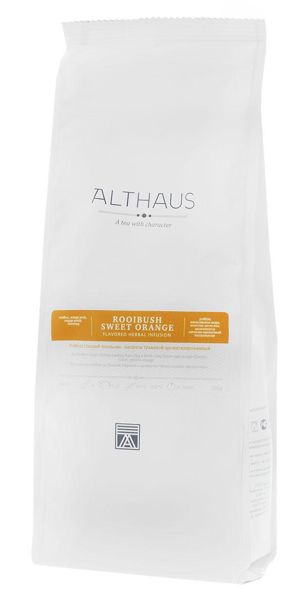 Althaus Rooibush Sweet Orange травяной листовой чай, 250 г101246Althaus Ройбуш Сладкий Апельсин — это уникальная композиция этнического южноафриканского напитка ройбуш со свежим ароматом спелых цитрусовых плодов и апельсинового цвета. Кусочки душистой цедры придают этому экзотическому коктейлю легкий и бодрящий цитрусовый аромат. Тонкий, по-летнему сладкий букет напоминает о тенистых аллеях, где зреют золотистые апельсины, и нежном, полупрозрачном благоухании весенних цветов, согретых южным солнцем. Простой, но в то же время ни с чем не сравнимый вкус ройбуша по-новому раскрывает свою теплую древесную нотку в окружении яркого и игристого аромата цветущего апельсина. Цитрусовые оттенки в этом коктейле кажутся не прохладными, едва ощутимыми, а более насыщенными, жаркими, фруктово-специевыми. Апельсиновая цедра, богатая эфирными маслами и витамином C, не только обогащает ароматическую палитру этого купажа, но и делает напиток еще более полезным для здоровья.Ройбуш Сладкий Апельсин можно пить как в горячем, так и в холодном виде со льдом. Ароматный коктейль прекрасно освежает жарким летом. Температура воды: 85-100 °СВремя заваривания: 4-5 минЦвет в чашке: золотисто-оранжевый