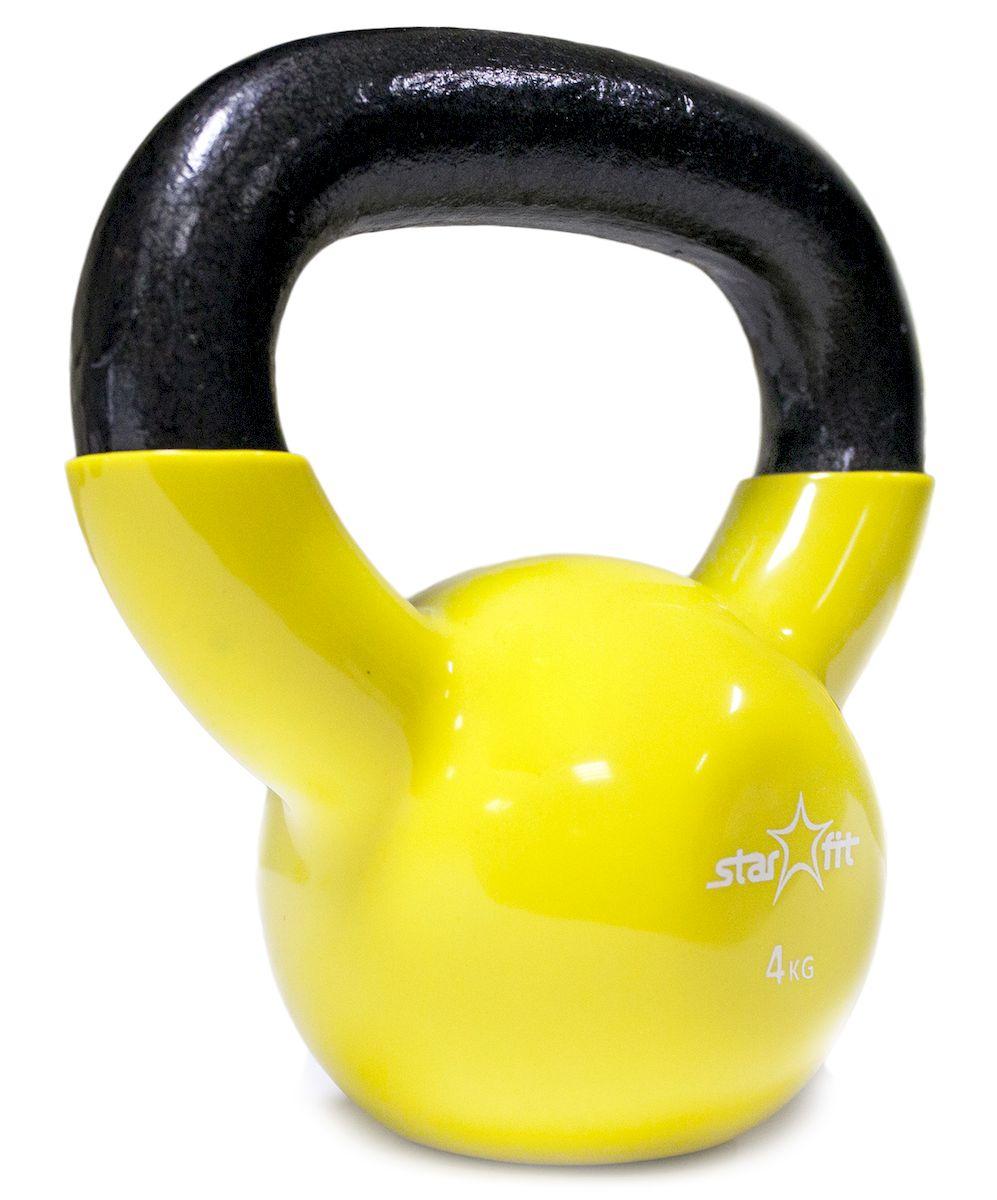 Гиря Starfit  DB-401 , виниловая, цвет: желтый, черный, 4 кг - Оборудование для силовых тренировок