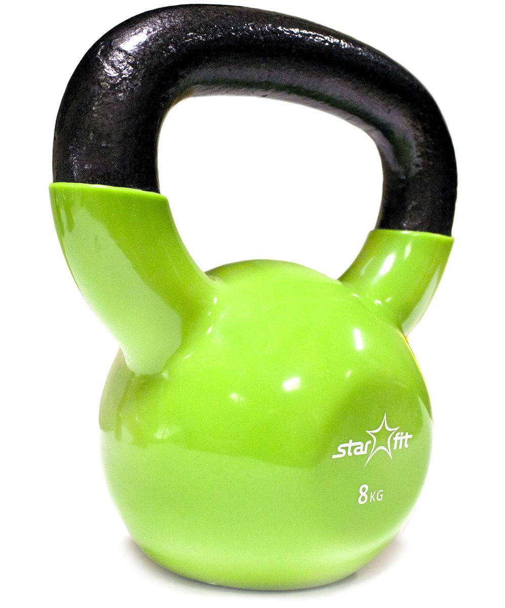 Гиря Starfit  DB-401 , виниловая, цвет: зеленый, черный, 8 кг - Оборудование для силовых тренировок