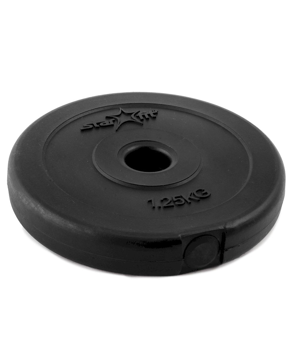 Диск пластиковый Starfit BB-203, посадочный диаметр 26 мм, 1,25 кгУТ-00007179Диск Star Fit BB-203 подходит для гантелей и грифов диаметром 26 мм. Он изготовлен из прочного ABS пластика и цемента. Высокое качество обеспечивает безопасность занятий спортом. Для тренировки в домашних условиях чаще всего применяются пластиковые диски, которые не царапают пол и не гремят, привлекая излишнее внимание соседей. При покупке дисков обязательно обращайте внимание на допустимый вес, который может выдержать гриф.Посадочный диаметр: 26 мм. Вес: 1,25 кг.