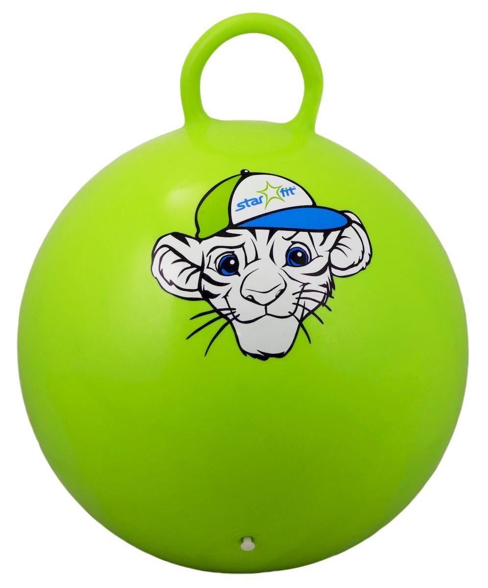 Мяч-попрыгун Starfit Тигренок, с ручкой, цвет: зеленый, белый, голубой, диаметр 55 смWRA523700Мяч-попрыгун Star Fit Тигренок предназначен для гимнастических и медицинских целей в лечебных упражнениях. Оснащен ручкой. Мяч прекрасно подходит для использования в домашних условиях. Данный мяч можно использовать для: реабилитации после травм и операций, стимуляции и релаксации мышечных тканей, улучшения кровообращения, лечении и профилактики сколиоза, при заболеваниях или повреждениях опорно-двигательного аппарата.Максимальный вес пользователя: 200 кг.