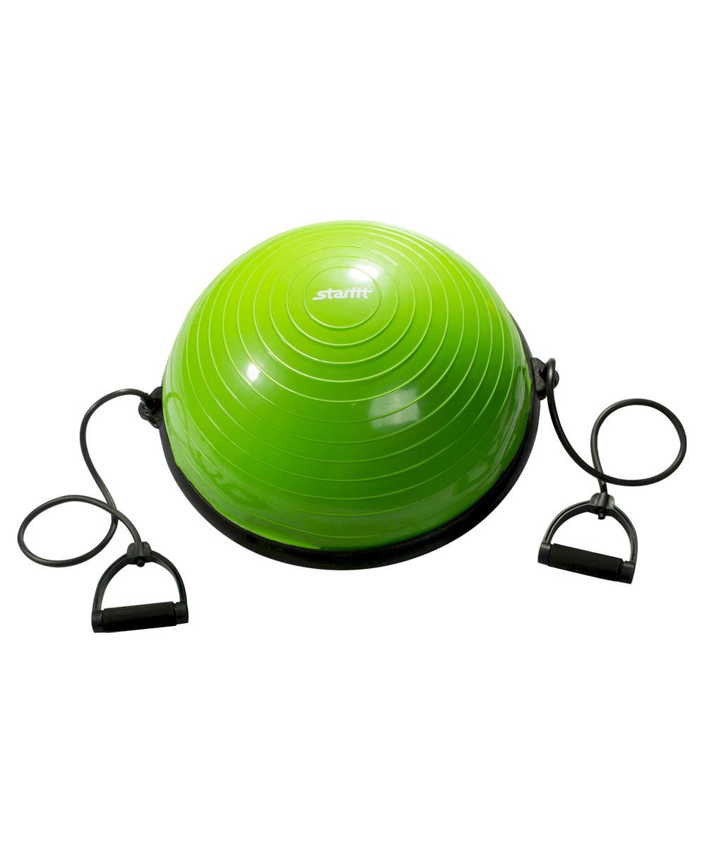 Полусфера спортивная StarfitBOSU, с эспандерами, цвет: зеленый, черный, диаметр 58 смSF 0085Тренажер Star Fit BOSU - это полусфера для занятия спортом. Если человек хочет похудеть, развивать баланс, вестибулярный аппарат, сердечно-сосудистую систему, укреплять связочный аппарат ног, то BOSU необходимый для использования аксессуар. Его используют как новички, чтобы похудеть, так и профессиональные спортсмены, восстанавливающиеся после сложных операций на коленных суставах.
