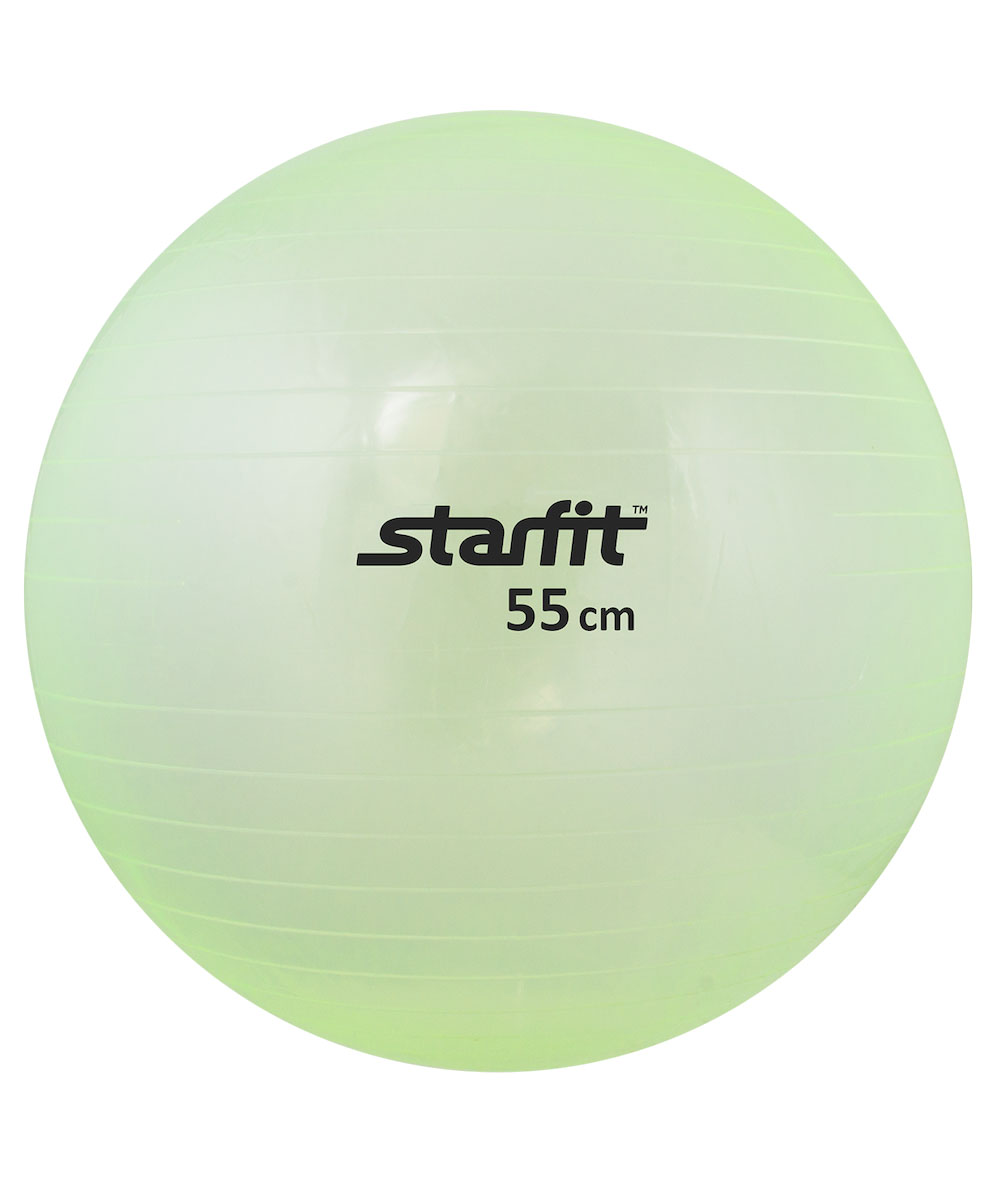 Мяч гимнастический Starfit, цвет: прозрачный, зеленый, диаметр 55 смSF 0085Гимнастический мяч Star Fit является универсальным тренажером для всех групп мышц, помогает развить гибкость, исправить осанку, снимает чувство усталости в спине. Предназначен для гимнастических и медицинских целей в лечебных упражнениях. Прекрасно подходит для использования в домашних условиях. Данный мяч можно использовать для реабилитации после травм и операций, восстановления после перенесенного инсульта, стимуляции и релаксации мышечных тканей, улучшения кровообращения, лечении и профилактики сколиоза, при заболеваниях или повреждениях опорно-двигательного аппарата.