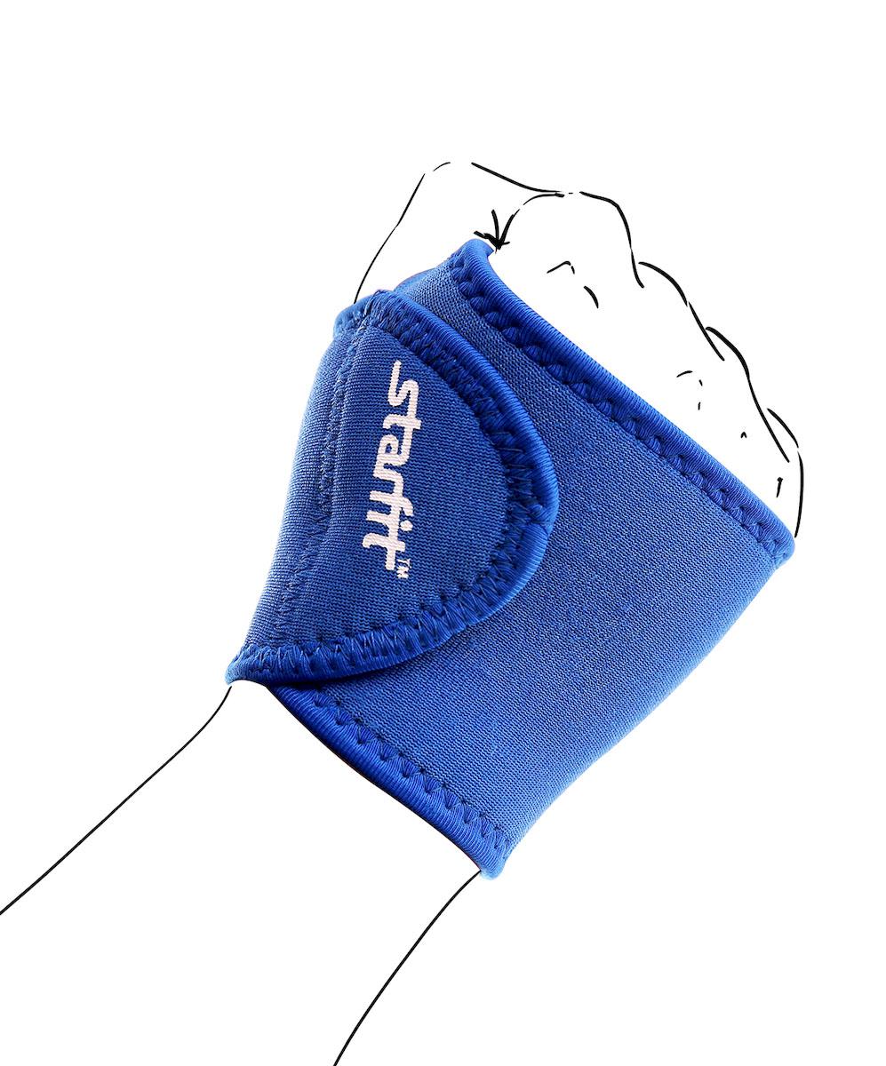 Суппорт запястья Starfit SU-703, цвет: синийУТ-00009143Суппорт Star Fit SU-703 - это обязательный аксессуар для спортсменов и любителей спорта, а именно для тех, кто получил травмы или перенес операцию на запястье. В суппорте можно тренироваться, а можно использовать в повседневной жизни. Суппорт поможет в поддержке связочного аппарата сустава, будет выполнять функцию корсета. Изделие выполнено из прочных материалов.
