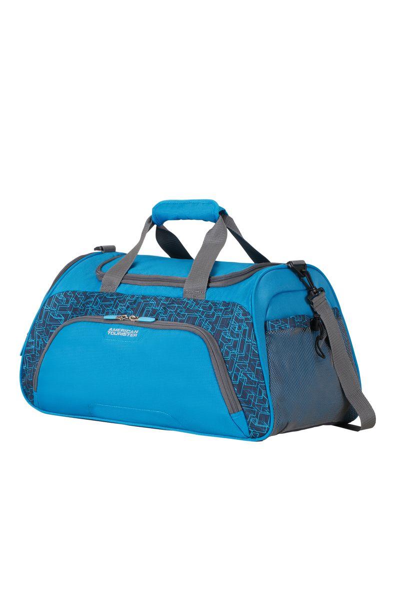 Сумка дорожная American Tourister, цвет: синий, 38 л. 16G*110106064Сумка дорожная American Tourister выполнена из плотного полиэстера. Сумка оснащена вместительным отделением на молнии и двумя внешними карманами - один из которых также на застежке-молнии, а второй - сетчатый на кулиске. Сумка удобно крепится к чемодану или багажной сумке с выдвижной ручкой сверху. Модель дополнена плечевым ремнем.
