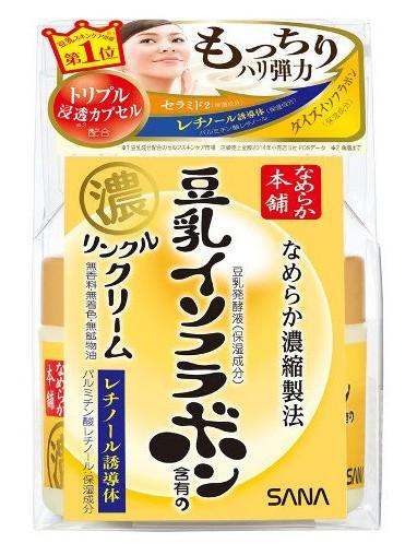 Sana Увлажняющий и подтягивающий крем Wrinkle Cream, с ретинолом и изофлавонами сои 50 г425578Крем содержит 3 капсулированных компонента - изофлавоны сои, церамиды и ретинол.Предотвращает образование морщин. Ретинол, входящий в состав крема, стимулирует обновление клеток кожи и синтез коллагена. В результате разглаживаются мелкие морщинки, кожа становится гладкой.Крем глубоко увлажняет, повышает упругость и эластичность кожи за счет действия полученных из соевых бобов увлажняющих компонентов:изофлавоны, полученные из соевых бобов;изофлавоны, полученные из ферментированного соевого молока;экстракт соевых бобов;растительный коллаген, полученный из соевого белка.Не содержит парфюмерных отдушек, искусственных красителей и минеральных масел.