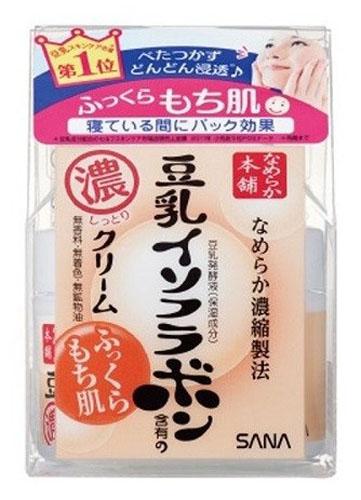 Sana Ночной питательный крем Soy Milk Night, с изофлавонами сои, 50гМ022/G520Крем придает коже ровный цвет и сияющий вид, делает ее мягкой и гладкой, насыщает сбалансированным составом питательных веществ, улучшает цвет лица, восстанавливает защитные функции кожи. Глубоко увлажняет, повышает естественные упругость и эластичность кожи за счет действия полученных из соевых бобов увлажняющих компонентов:изофлавоны, полученные из соевых бобов;изофлавоны, полученные из ферментированного соевого молока;экстракт соевых бобов;растительный коллаген, полученный из соевого белка.Токоферол (витамин Е), входящий в состав крема, обладает мощным антиоксидантным действием, нейтрализуя свободные радикалы и защищая клетки кожи от разрушения. Не содержит парфюмерных отдушек, искусcтвенных красителей и минеральных масел.В состав не входит генно - модифицированная соя.