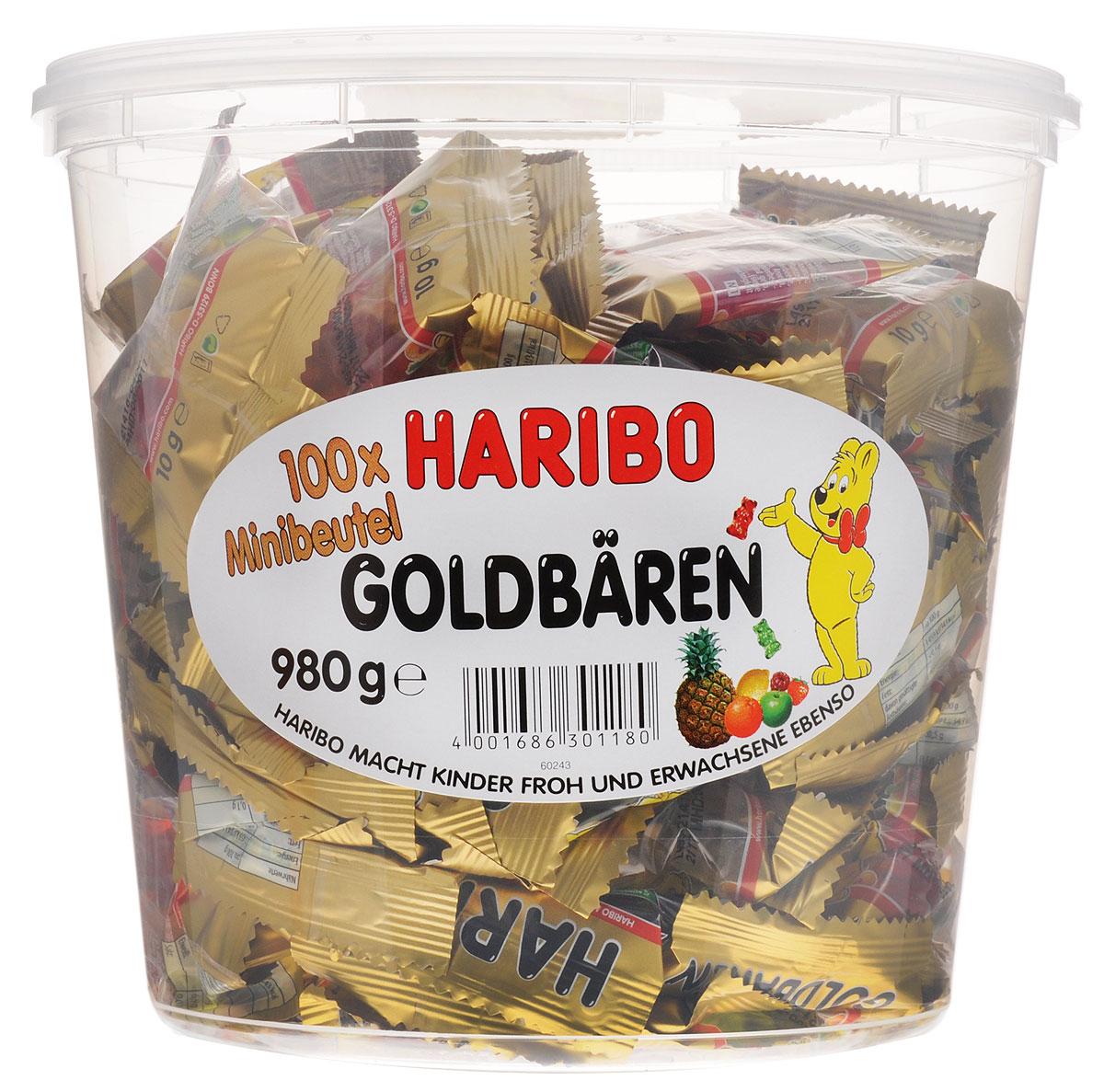Haribo Золотые мишки-мини мармелад жевательный, 980 г4640000272265Haribo Золотые мишки-мини – это тот же хорошо знакомый мармелад, только в компактном формате. Много маленьких пакетиков по 9,8 г – это отличное решение для вечеринки или детского праздника, где можно каждого угостить этим мармеладом в индивидуальной упаковке!